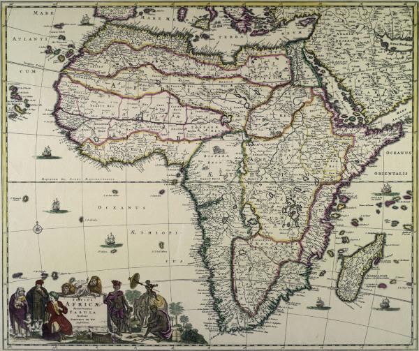 landkarte von afrika de wit als kunstdruck oder handgemaltes gem lde. Black Bedroom Furniture Sets. Home Design Ideas