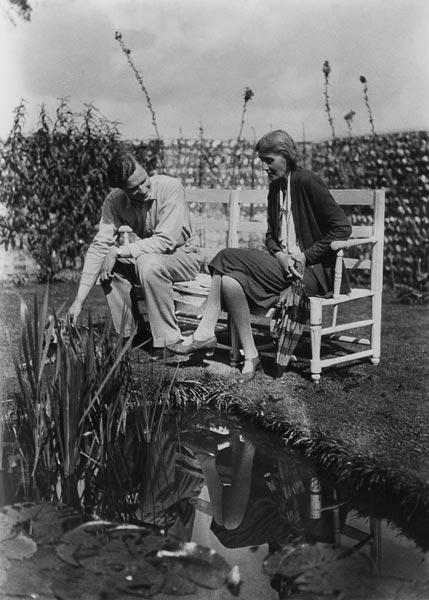 Virginia Woolf and John Lehmann at Charleston, c.1931 (b/w photo)