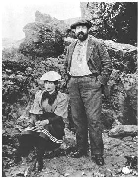Colette (1873-1954) and Willy (1859-1931) at Belle-Ile, summer 1894 (b/w photo)