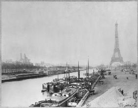 View of the banks of the Seine and the Eiffel Tower, Paris (b/w photo)