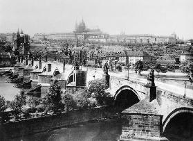 View of Prague showing the Imperial Palace (Hradschin) and the Charles Bridge,
