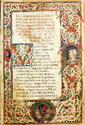 Ms.392 fol.1 Song in praise of Laure, from ''Sonetti, Canzoni e Triomphi'' Petrarch (1304-74) 1470