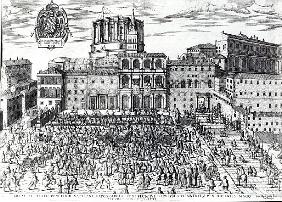 The Benediction of Pope Pius V in St.Peter''s Square c.1567