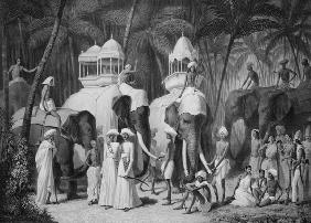 Elephants of the Raja of Travandrum, from 'Voyage in India' engraved by Louis Henri de Rudder (1807-