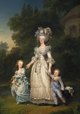 Queen Marie Antoinette (1755-93) with her Children in the Park of Trianon 1785