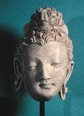 Head of a Smiling Buddha, Greco-Buddhist style, from Hadda 1st-4th ce