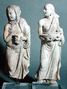 Two statuettes of standing monks, from Hadda 1st-4th ce