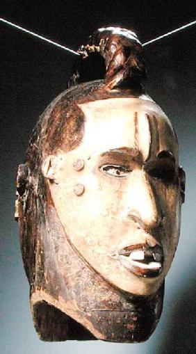 Double-Faced Helmet Mask, Ejagham Culture, from Nigeria or Cameroon (wood, skin, nails & bones)