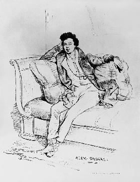 Alexandre Dumas Pere (1803-70) ; engraved by Charles Etienne Pierre Motte (1785-1836)