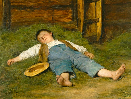 Mädchen Wams ein schlafender Junge