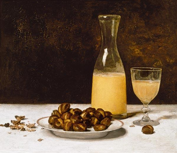 Still Life with Wine and Chestnuts c.1897