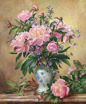 Vase of Peonies and Canterbury Bells