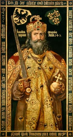 Charlemagne, Charles the Great (747-814) King of the Franks, Emperor of the West, in his coronation c.1512-12