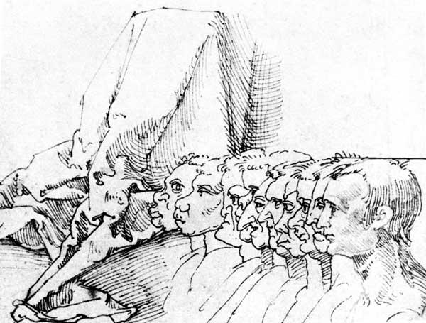 A.Dürer, Ten Heads in Profile / Draw.