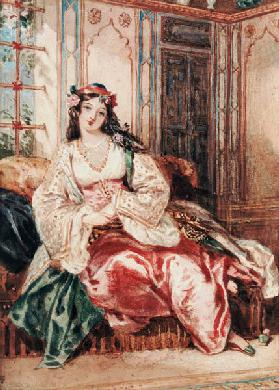 A Lady Seated in an Ottoman Interior Wearing Turkish Dress 1832