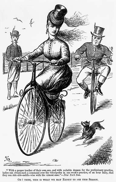 Cartoon of a Lady on a Velocipede