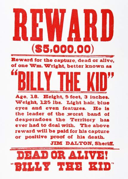 Reward Poster for Billy the Kid (1859-81) (litho) 19th