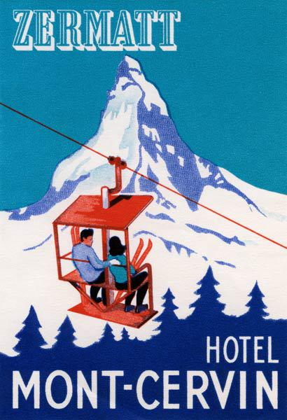 The Zermatt Peak with Skiers on Ski Lift 1935
