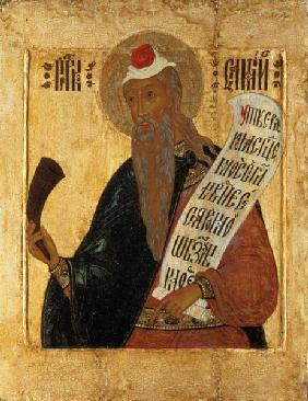Russian icon of the Prophet Samuel with a horn and an open scroll 17th centu