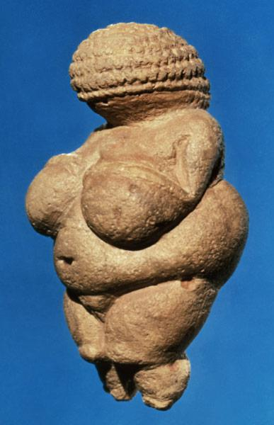 The Venus of Willendorf, side view of female figurine, Gravettian culture,Upper Palaeolithic Period c.30000-18