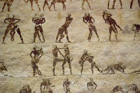 Wrestlers, detail from a tomb wall painting,Egyptian Old to Mid