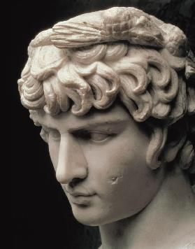 Portrait head of Antinous wearing the wreath of Dionysus, part of a statue from the villa of Emperor 2nd c.