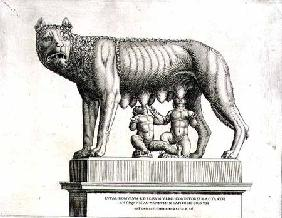 Drawing of the Etruscan bronze of the she-wolf suckling Romulus and Remus, 5th century BC, in the Ca 1552