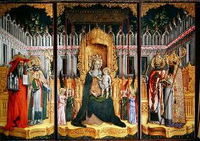The Virgin Enthroned with Saints Jerome, Gregory, Ambrose and Augustine, 1446 (oil on canvas) (post 15th