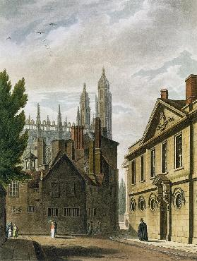 Front of Trinity Hall, Cambridge, from 'The History of Cambridge', engraved by Joseph Constantine St 1815 our