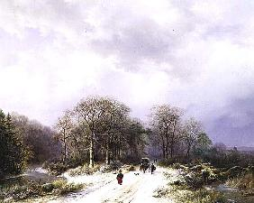 On the Way to Market, 19th century 99;landscape; winter; snow; snowy; countryside; tree; road; figur