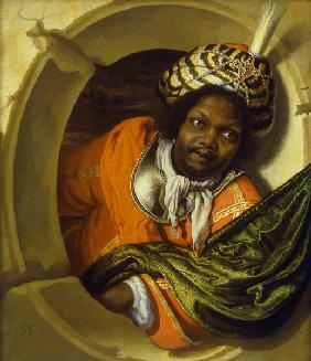Portrait of a Moor holding a flag at a window 17th