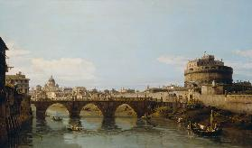 View of the Tiber in Rome with the Castel Sant'Angelo 1743