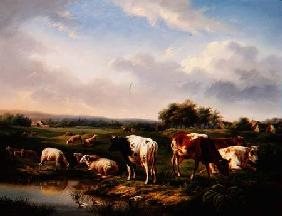 Cattle and Sheep in a Landscape (one of a pair)