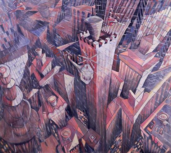 Manhattan Wandfarbe: Downtown Manhattan Hailstorm, 1995 (oil