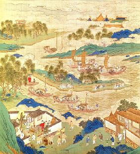 Emperor Hui Tsung (r.1100-26) transporting pierced stones and strange shaped trees, from a History o