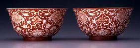 Pair of Bowls with lotus and hibiscus flowers Qianlong m