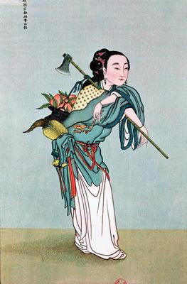Ma Kou Carrying Medicinal Plants, from a work by Father Henri Dore, late 19th century (colour litho) 1589