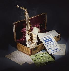 A Group Of Charlie Parker Memorabilia Including An Early 1950s Grafton Alto Saxophone Of Cream Acryl
