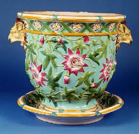A  Minton ''Garden Pot Passion Flower'' Jardiniere And Underdish, 1858