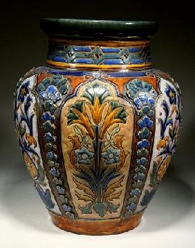 A Monumental Royal Doulton Stoneware Vase, 19th Century
