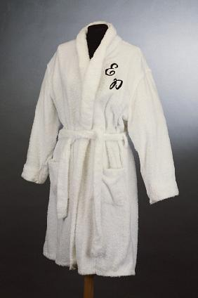 A White Towelling Pool Robe Embroidered With Elvis Presleys Monogram