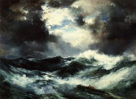 Moonlit Shipwreck At Sea Thomas Moran (1837-1926)
