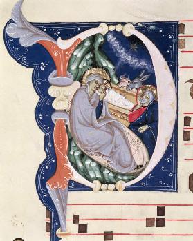 Ms 561 f.31v Historiated initial 'D' depicting the Nativity, from a gradual from the Monastery of Sa early 14th