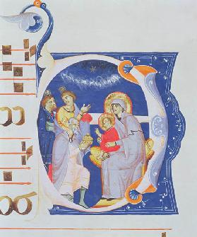 Ms 561 f.37r Historiated initial 'O' depicting the Adoration of the Magi, from a gradual from the Mo early 14th