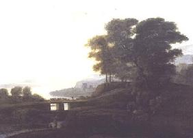 Landscape with cattle and goats crossing a bridge