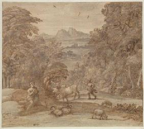 Landscape with Mercury and Apollo as a Shepherd 1673