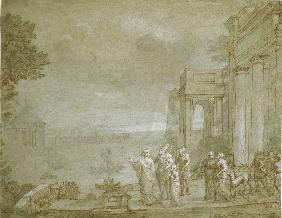 View of Carthage with Dido and Aeneas 1676