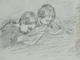 Jean-Pierre Hoschede (1877-1961) and Michel Monet (1878-1966) drawing