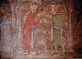 Charles IV (1316-78) receiving the thorns of the crown of Christ from Jean II (1319-64) from the Cha c.1357