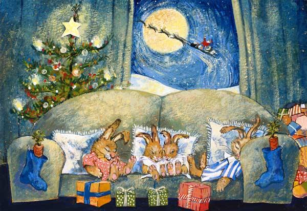 Christmas, sleeping rabbits, 1995